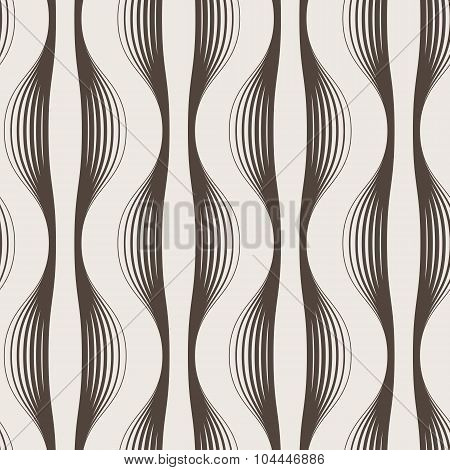 Seamless abstract geometric pattern of wavy lines of different thickness
