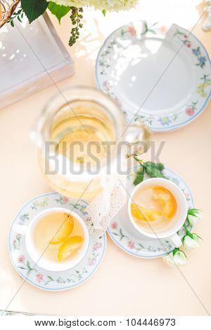 Beautiful Fresh Cold Peach Tea With Ripe Peaches