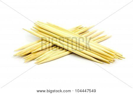 Toothpicks On White Background, Isolated
