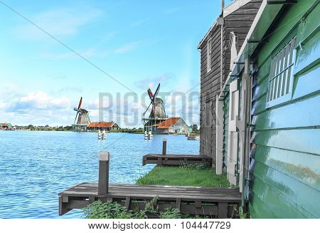 Windmill on the lake shore.