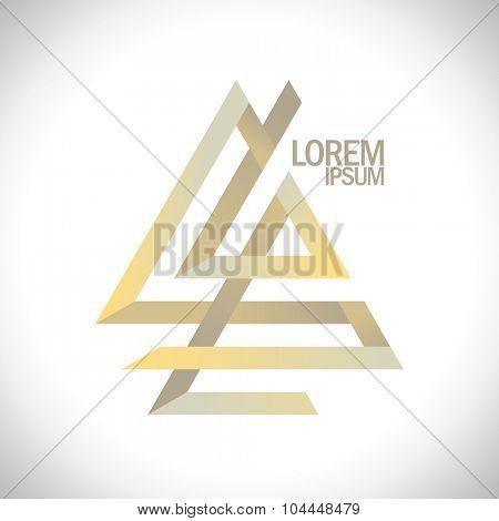 Geometric golden abstract logo.