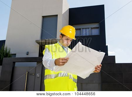 Foreman Worker In Stress Supervising Building Blueprints Outdoors Wearing Construction Helmet
