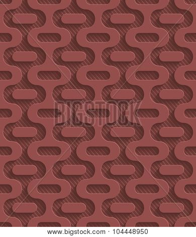 Marsala color perforated paper with cut out effect. 3d seamless background.
