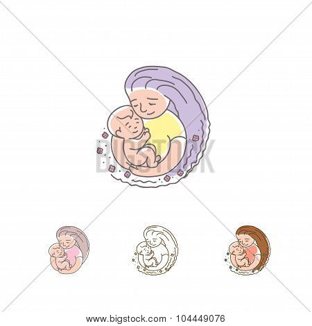 Vector Logo - Mother With Baby.  Happy Mothers Day.