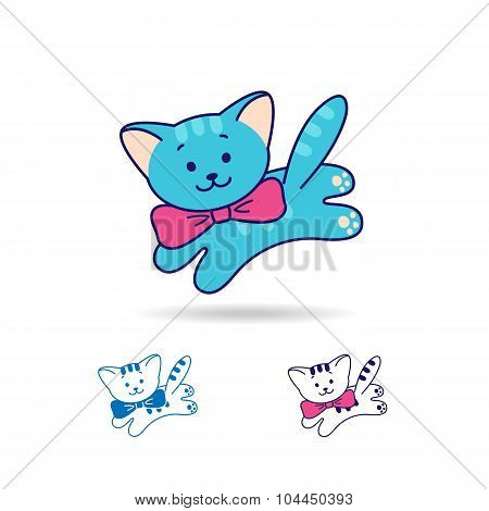 Blue Cat Or Kitty With Bow, Line And Flat Style.