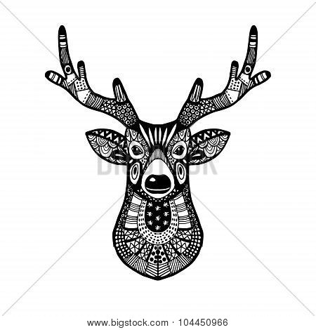 Ornamental Deer Head, Trendy Ethnic Zentangle Design, Hand Drawn, Isolated Vector