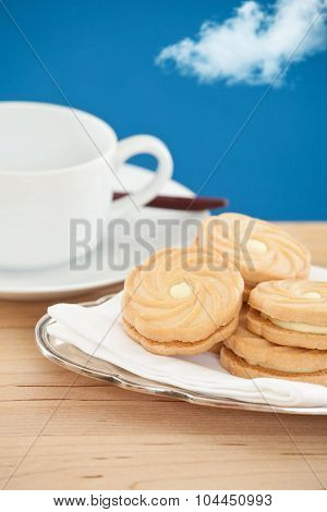 Lemon cookies on a silver platter