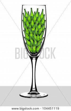 Champagne glass holding little bottles