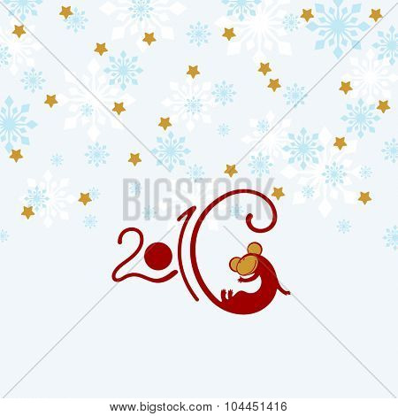 2016 New Year greeting card with it's symbol - red fire Monkey (raster version)