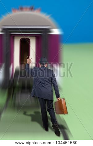 Man running after a train