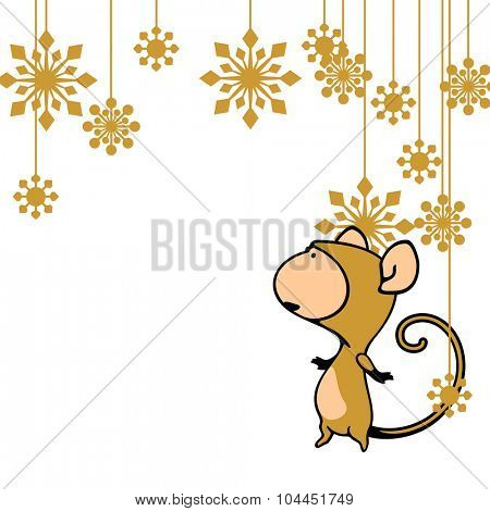 Greeting card with a Monkey looking at holiday decoration (raster version)