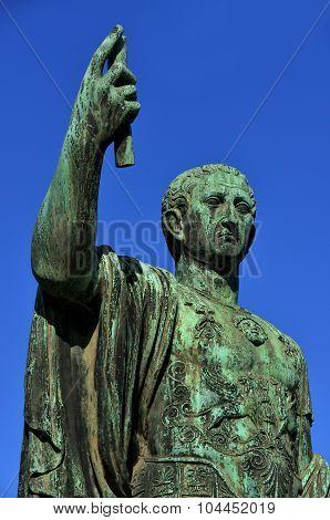 Caesar Augustus Nerva Statue With Blue Sky