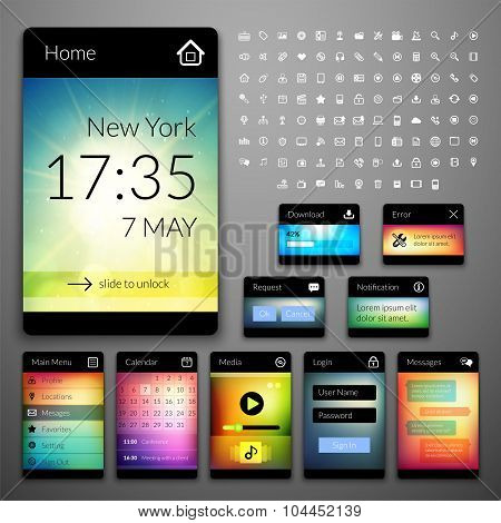 Mobile interface elements with colorful wallpaper and icon set, design for applications