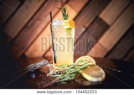 Gin And Tonic Cocktail, Alcoholic drink For Hot Summer Days. Refreshment Cocktail With Rosemary