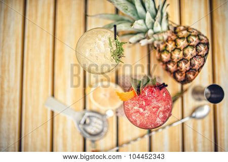 Alcoholic Cocktails At Pub, Bar Or Restaurant. Refreshment Drinks, View From Top