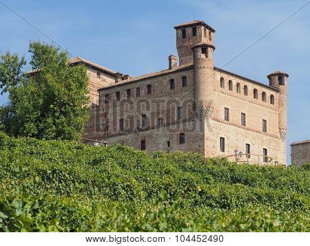 Castle Of Grinzane Cavour Surrounded By Vineyards