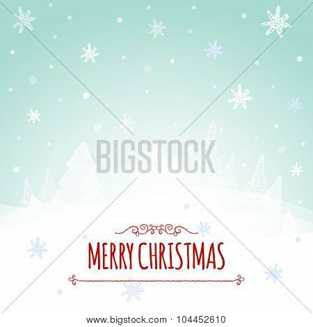 Christmas retro greeting card and background with hand-drawn Christmas tree and congratulation