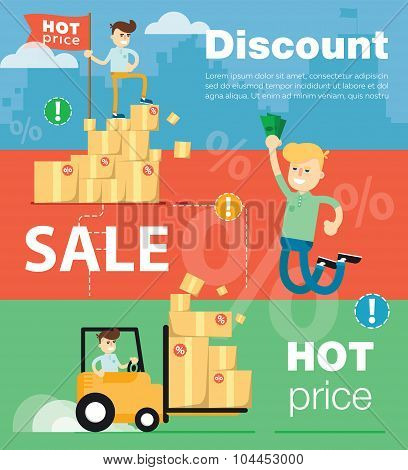 Discount sale vector banners