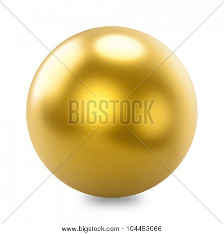 Glossy golden sphere isolated on white background.