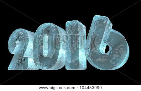 New 2016 year ice figures isolated on black background.