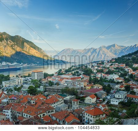 Panoramic Top View Of Kotor Bay (boka Kotorska) And Kotor City, Montenegro