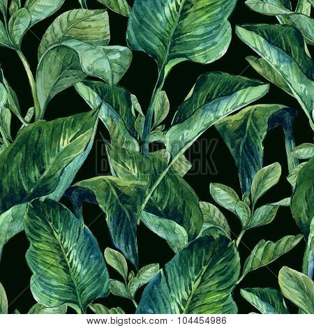 Watercolor Seamless Background with Tropical Leaves