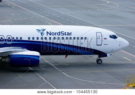 Nordstar Airlines Boeing 737-8K5 Aircraft Stands At The Parking In Pulkovo International Airport In