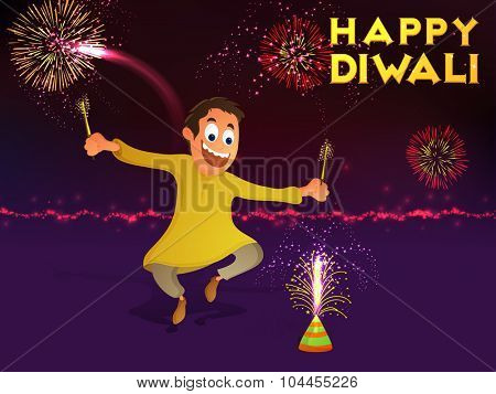 Indian Festival of Lights, Happy Diwali celebration with cute boy enjoying firecrackers on colourful shiny fireworks background.