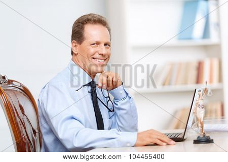 Professional lawyer working on computer