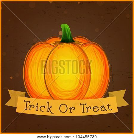 Creative invitation card design with pumpkin for Trick or Treat, Happy Halloween Party celebration.