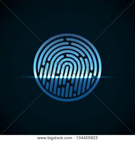 Fingerprint identification system, with blue transparency light