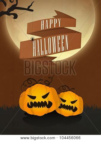 Happy Halloween Party celebration with creative scary pumpkins. Can be used as Flyer, Banner or Template.