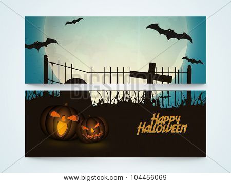 Creative website header or banner set with scary Jack O Lantern and flying bats for Happy Halloween party celebration.