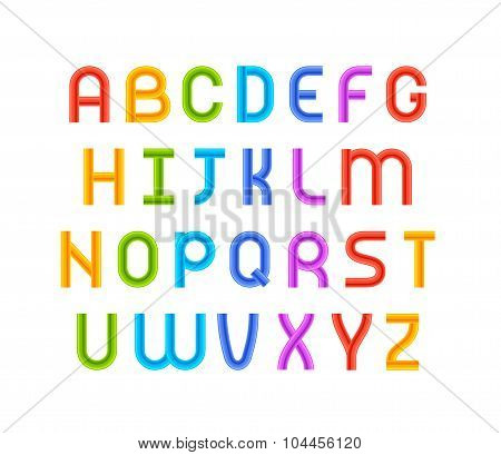 Wired wavy cable, colorful contour alphabet