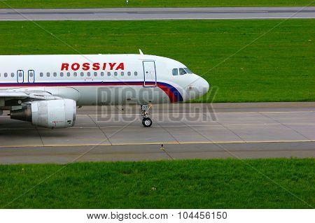 Rossiya Air Company Airbus A320-214 Aircraft In Pulkovo International Airport In Saint-petersburg, R