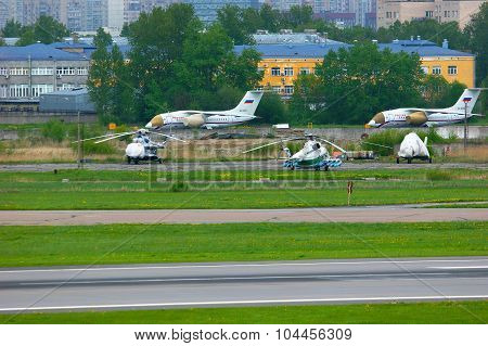 The Parking Of Aircrafts And Helicopters In Pulkovo International Airport In Saint-petersburg, Russi