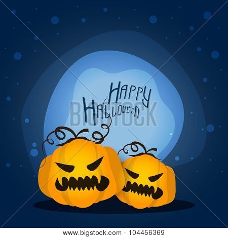 Happy Halloween Party celebration with scary Pumpkins.