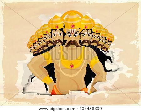 Illustration of engry Ravana with ten heads for Indian Festival, Happy Dussehra celebration.