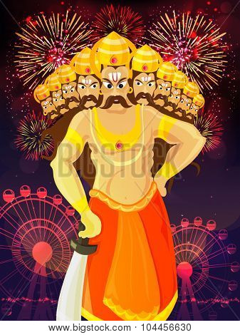 Creative illustration of angry Ravana with ten heads on colourful floral design decorated background for Indian festival, Happy Dussehra celebration.