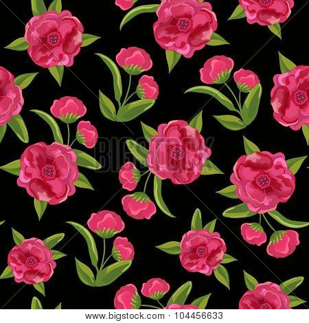 Creative seamless pattern with beautiful pink flowers and green leaves.