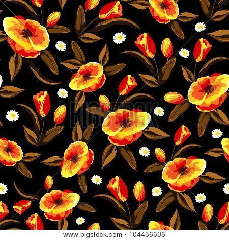 Creative shiny flowers decorated beautiful seamless pattern.