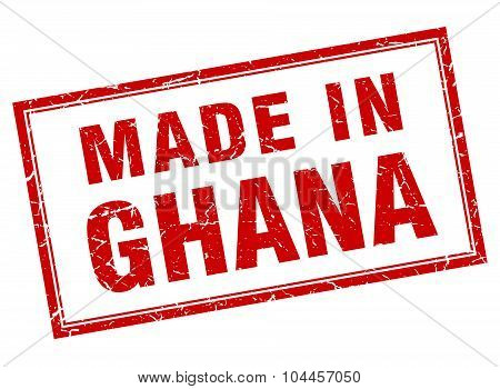 Ghana Red Square Grunge Made In Stamp