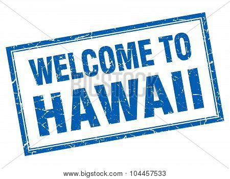 Hawaii Blue Square Grunge Welcome Isolated Stamp