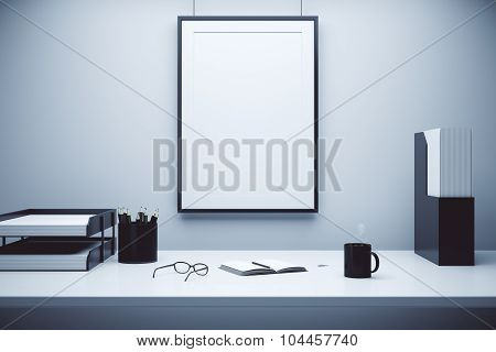 Blank Picture Frame On A Wall And Table With Glasses, Diary And Coffee Mug, Mock Up
