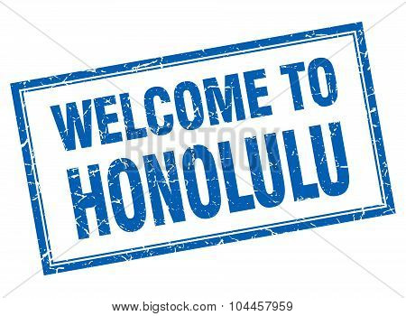 Honolulu Blue Square Grunge Welcome Isolated Stamp