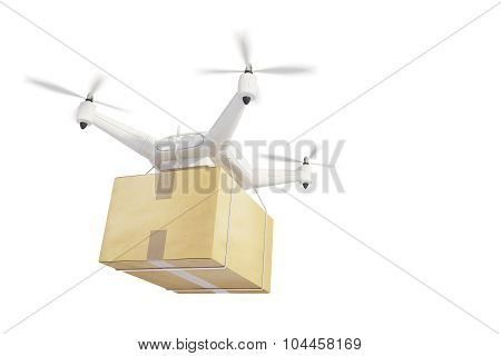 Illustration Quadrocopters Deliver On A White Background