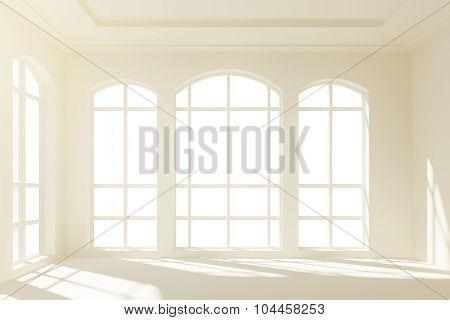 Sunny White Loft Interior With Big Windows