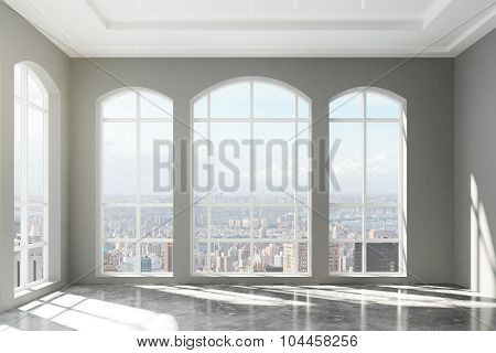 Large Loft Interior With City View