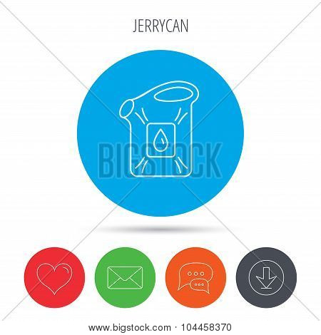 Jerrycan icon. Petrol fuel can with drop sign.