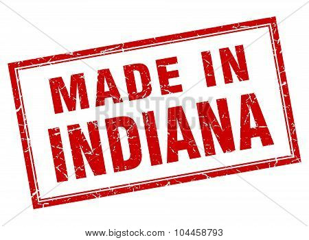 Indiana Red Square Grunge Made In Stamp